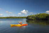 Woman Kayaking Through the Protected Mangrove Areas in Yap, Micronesia Photographic Print by Michel Benoy Westmorland