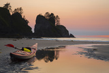 Canoe on a Beach at Sunset, Washington, USA Photographic Print by Gary Luhm