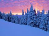 Winter Sunset, Mt Spokane State Park, Washington, USA Reproduction photographique par Charles Gurche
