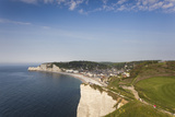Elevated View of Town Beach, Etretat, Normandy, France Photographic Print by Walter Bibikow