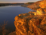 Sandstone Bluff at Sunset at Kanopolis Lake, Kansas, USA Photographic Print by Charles Gurche