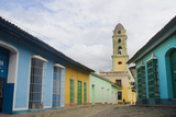 Cobblestone Street and Beautiful Church in City, Trinidad, Cuba Fotodruck von Bill Bachmann