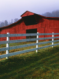 Red Barn and White Fence on Farm, Scott County, Virginia, USA Photographic Print by  Jaynes Gallery