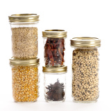 Jars of Corn, Brown Rice, Chili Peppers, and Black-Eyed Peas Photographic Print by Matt Freedman