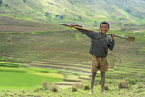 Young Boy in Front of Terraced Rice Fields, Ambalavao, Madagascar Photographic Print by Anthony Asael