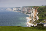 Town and Cliffs, Elevated View, Yport, Normandy, France Photographic Print by Walter Bibikow