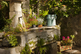 Garden Tub and Wash Basin at Chateau Roussan, France Papier Photo par Brian Jannsen