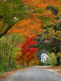 Road Lined in Fall Color, Andover, New England, New Hampshire, USA Photographic Print by  Jaynes Gallery
