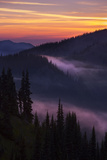 Purple Fog Sunset, Olympic National Park, Washington, USA Photographic Print by Gary Luhm
