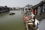 View of River Village with Boats, Zhujiajiao, Shanghai, China Photographic Print by Cindy Miller Hopkins