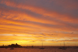 Boats in Harbor at Sunset, La Paz, Baja California Sur, Mexico Photographic Print by John & Lisa Merrill