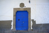 Traditional Spanish Blue Door and Inca Stones, Cuzco, Peru Photographic Print by John & Lisa Merrill