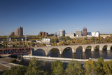 Mississippi River and City Skyline, Minneapolis, Minnesota, USA Photographic Print by Walter Bibikow