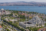 Hagia Sophia and the Blue Mosque, Aerial, Bosphorus, Istanbul, Turkey Photographic Print by Ali Kabas
