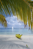 Kayak on White Sand Beach, Southwater Cay, Stann Creek, Belize Stampa fotografica di Cindy Miller Hopkins