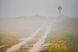 Ranch Road and Windmill in Fog, Texas, USA Photographic Print by Larry Ditto