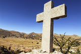 Cross Closeup, with Cityscape in Distance, Copacabana, Bolivia Photographic Print by Anthony Asael