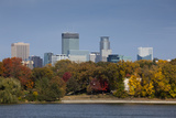 City Skyline from Lake Calhoun, Autumn, Minneapolis, Minnesota, USA Photographic Print by Walter Bibikow