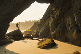 Man and Kayak at Archway, Point of Arches, Olympic NP, Washington, USA Photographic Print by Gary Luhm