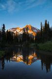 Mt Rainier Reflected in Mirror Pond, Mt Rainier NP, Washington, USA Photographic Print by Gary Luhm