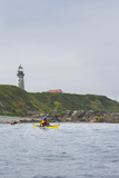 Sea Kayaker and Lighthouse, Destruction Island, Washington, USA Photographic Print by Gary Luhm