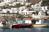 Fishing Boats in the Harbor of Chora, Mykonos, Greece Photographic Print by David Noyes
