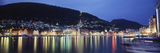 View from Harbor at Night, Bryggen, Hordaland, Norway Photographic Print by Walter Bibikow