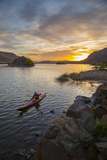 Sea Kayaker Paddling at Sunrise, Alkili Lake, Washington, USA Photographic Print by Gary Luhm