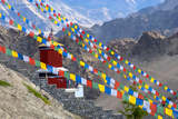 Strings of Prayer Flags at Thiksey Monasterym Leh, Ladakh, India Photographic Print by Ellen Clark