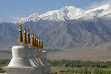 Chortens with Gold Spires Overlooking a Valley, Ladakh, India Photographic Print by Ellen Clark