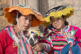Girls in Traditional Clothing with Baby Llama, Cuzco, Peru Photographic Print by John & Lisa Merrill