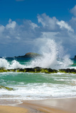 Waves Breaking on the Rocks at Kauapea Beach, Kauai, Hawaii, USA Photographic Print by Richard Duval