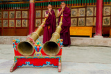Monks Blow Large Ceremonial Horns at Hemis Monastery, Ladakh, India Photographic Print by Ellen Clark