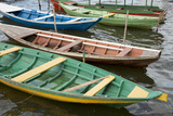 Colorful Local Wooden Fishing Boats, Alter Do Chao, Amazon, Brazil Fotografie-Druck von Cindy Miller Hopkins