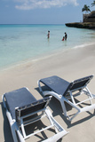 Blue Waters and Beach Chairs, Varadero, Cuba Photographic Print by Bill Bachmann