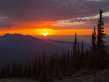 Sunset from Blue Mt, Olympic National Park, Washington, USA Photographic Print by Gary Luhm