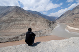 Man Sitting Above Zanskar and Indus River Confluence, Ledakh, India Photographic Print by Ellen Clark