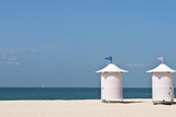 Male and Female Changing Stations on Beach, Dubai, UAE Photographic Print by Bill Bachmann