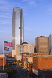 Elevated Skyline from Bricktown, Oklahoma City, Oklahoma, USA Photographic Print by Walter Bibikow