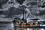 Stylized Grungy Treatment on Old Fishing Boat, Trinidad, Cuba Photographic Print by Adam Jones