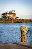 Dock and House across Bayou Petit Caillou, Cocodrie, Louisiana, USA Photographic Print by Alison Jones