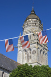 Town Church with Us Flags, Sainte Marie Du Mont, Normandy, France Photographic Print by Walter Bibikow