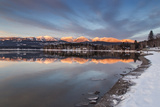 Whitefish Lake Reflecting Big Mountain in Winter Sunset, Montana, USA Photographic Print by Chuck Haney