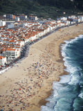 View of Town and Beach from Sitio, Nazare, Portugal Photographic Print by Walter Bibikow