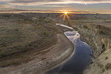 Sunset over the Little Missouri River, North Dakota, USA Photographic Print by Chuck Haney