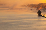 Arkansas River, Autumn Fog at Dawn, Little Rock, Arkansas, USA Photographic Print by Walter Bibikow