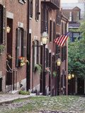 Houses Along Acorn Street, Boston, Massachusetts, USA Photographic Print by Walter Bibikow