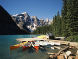Canoe Moored at Dock on Moraine Lake, Banff NP, Alberta, Canada Photographic Print by Adam Jones