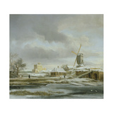 A Winter Landscape with a Frozen Canal and a Windmill Giclee Print by Jacob Isaaksz. Or Isaacksz. Van Ruisdael