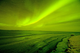Green Northern Lights over the Sea, Beaufort Sea, ANWR, Alaska, USA Photographic Print by Steve Kazlowski